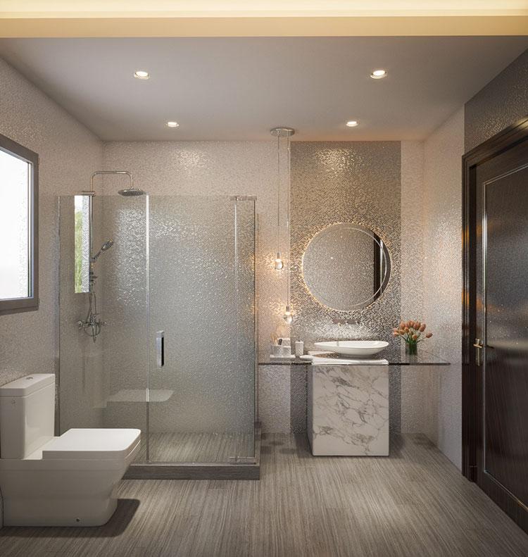 Arredamento per bagno moderno con elementi di design n.12