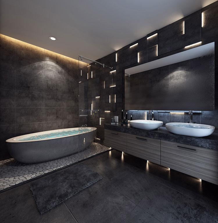 Arredamento per bagno moderno con elementi di design n.13