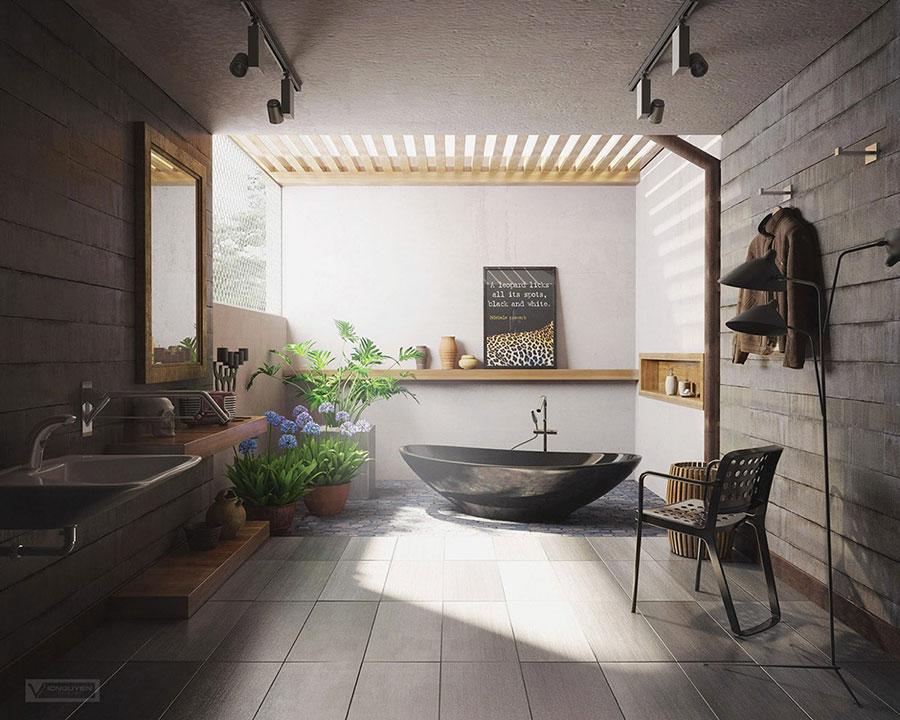 Arredamento per bagno moderno con elementi di design n.21