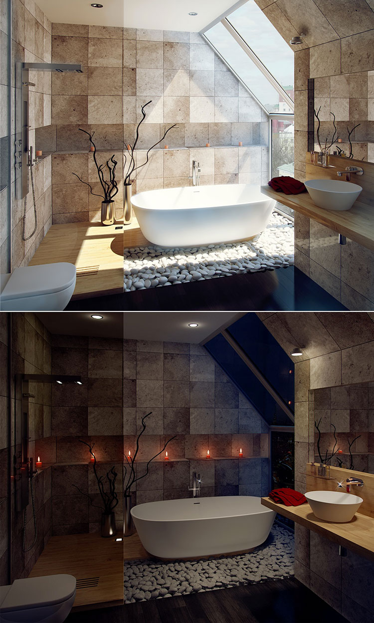 Arredamento per bagno moderno con elementi di design n.25