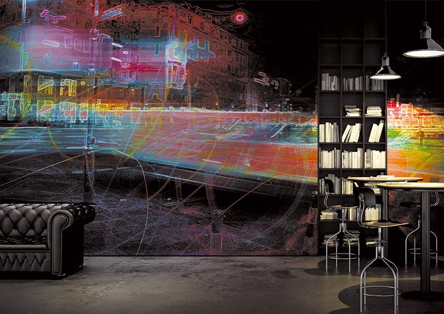 Modello di carta da parati effetto tridimensionale con motivo urbano n.05