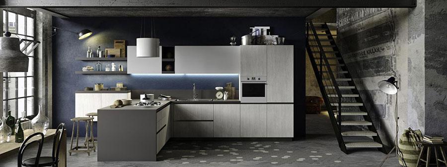 Modello di cucina moderna in legno n.14