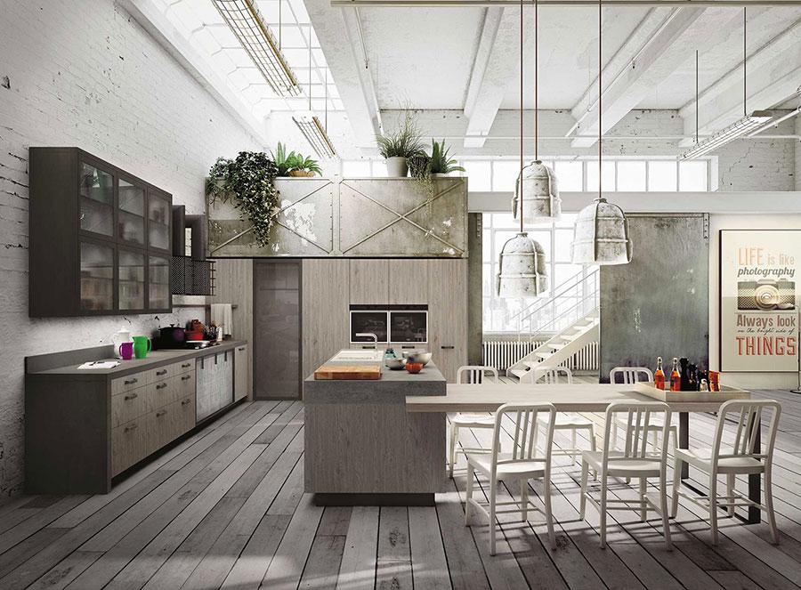 Modello di cucina moderna in legno n.17