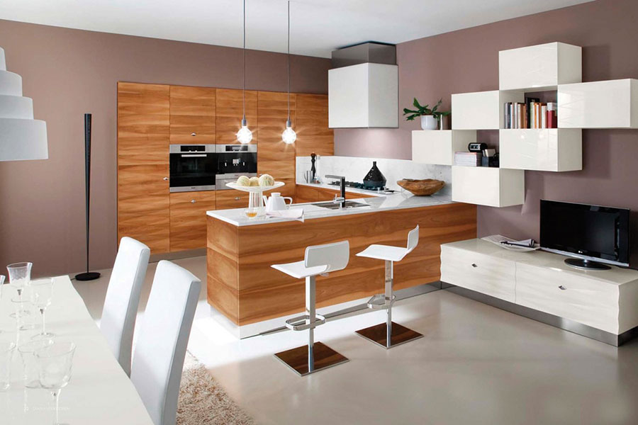 Modello di cucina moderna in legno n.25