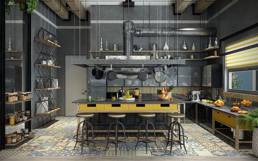 Modello di cucina dal design industriale n.02