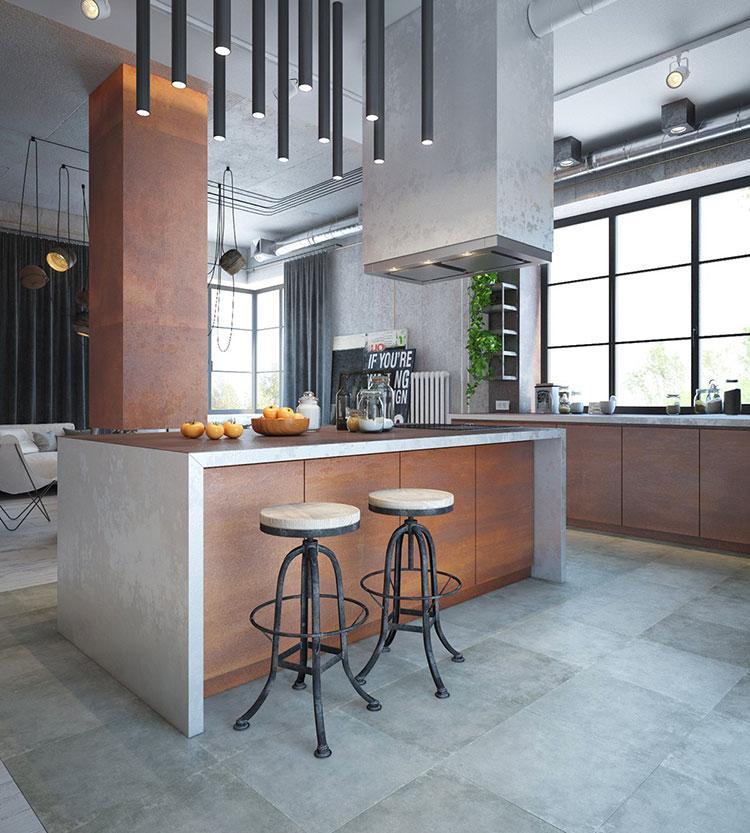 Modello di cucina dal design industriale n.13