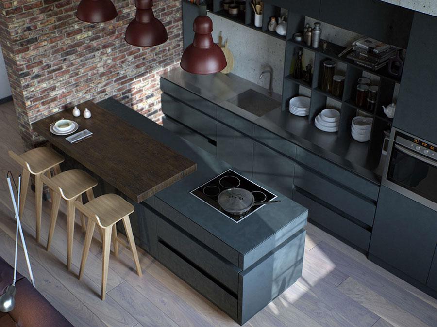 Modello di cucina dal design industriale n.15