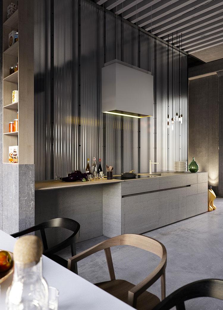 Modello di cucina dal design industriale n.16