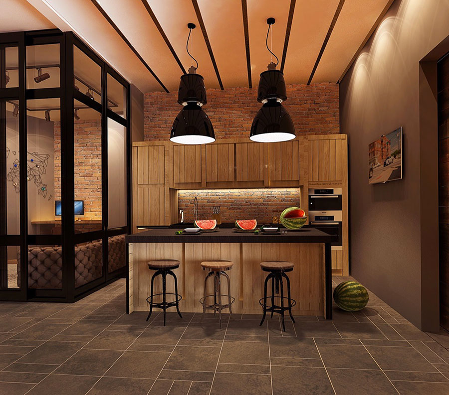 Modello di cucina dal design industriale n.17