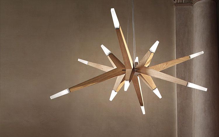 Modello di lampadario in legno moderno dal design contemporaneo n.09
