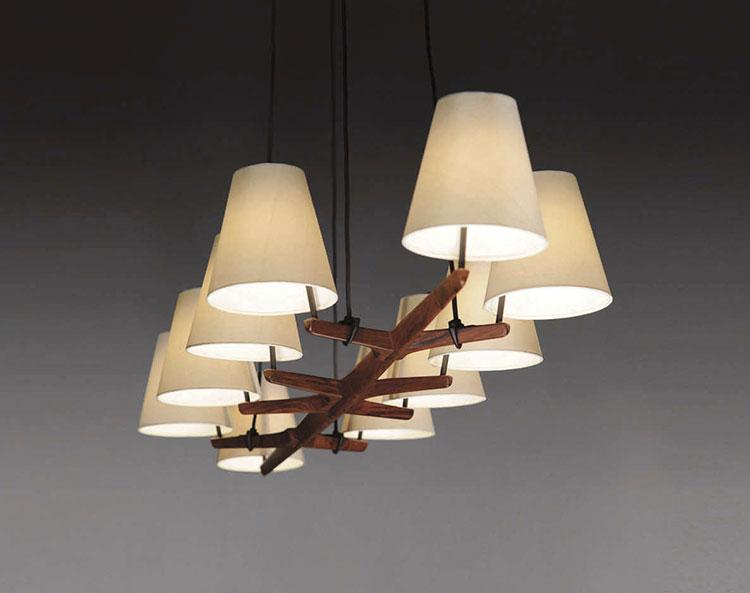 Modello di lampadario in legno moderno dal design contemporaneo n.10