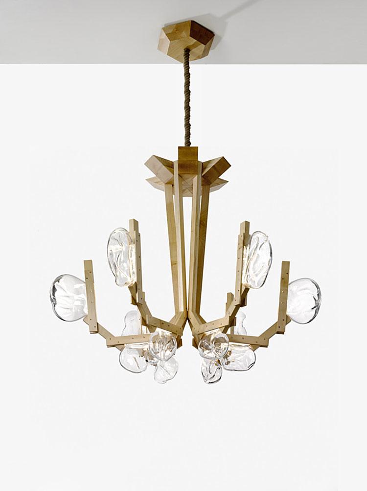 Modello di lampadario in legno moderno dal design contemporaneo n.18