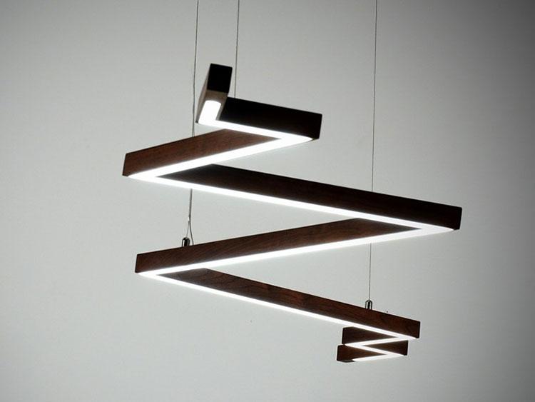 Lampadari in legno moderni dal design contemporaneo for Lampadari con led