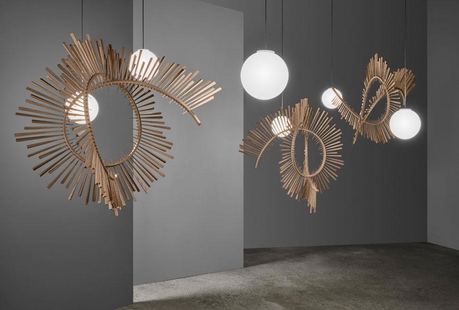 Modello di lampadario in legno moderno dal design contemporaneo n.27