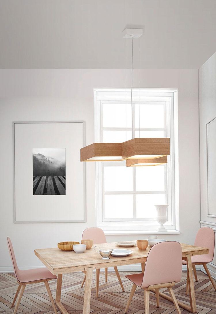 Modello di lampadario in legno moderno dal design contemporaneo n.29
