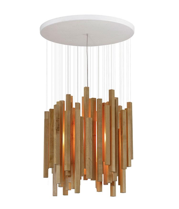 Modello di lampadario in legno moderno dal design contemporaneo n.30