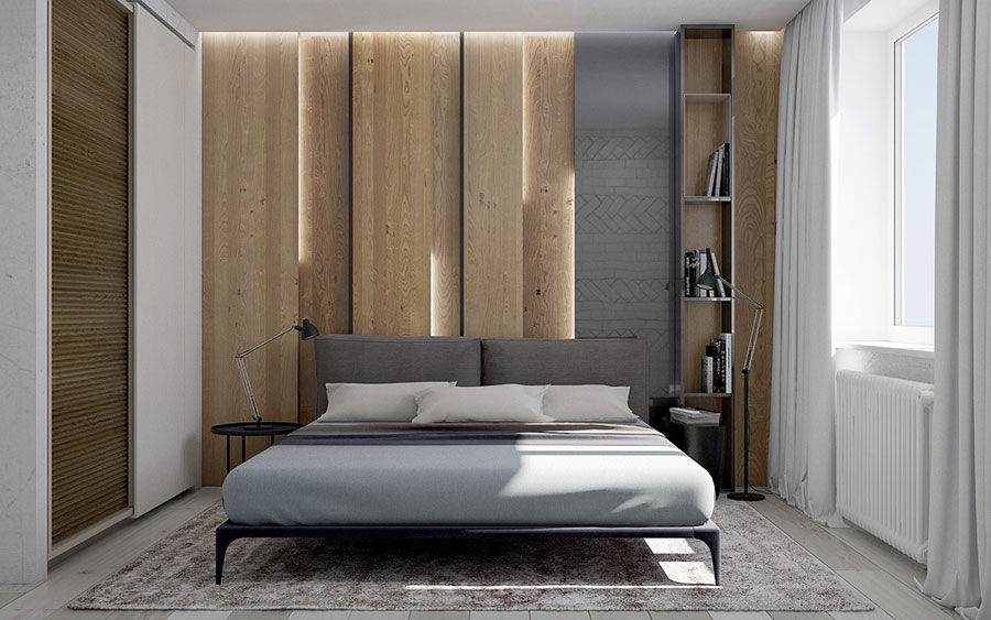 Rivestimento in legno per pareti della camera da letto n.02