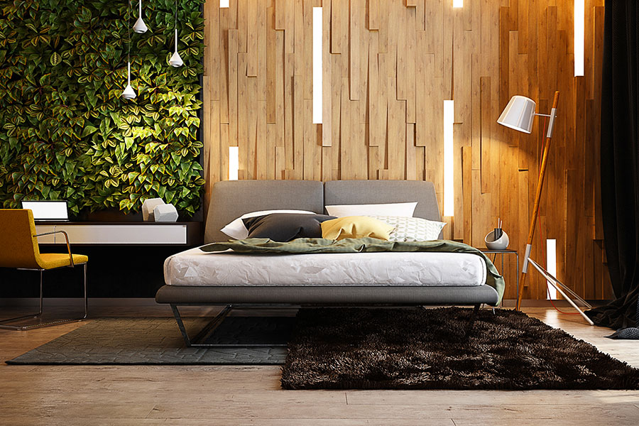 Rivestimento in legno per pareti della camera da letto n.05