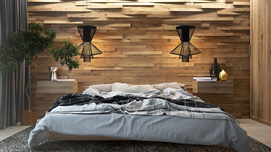 Rivestimento in legno per pareti della camera da letto n.06