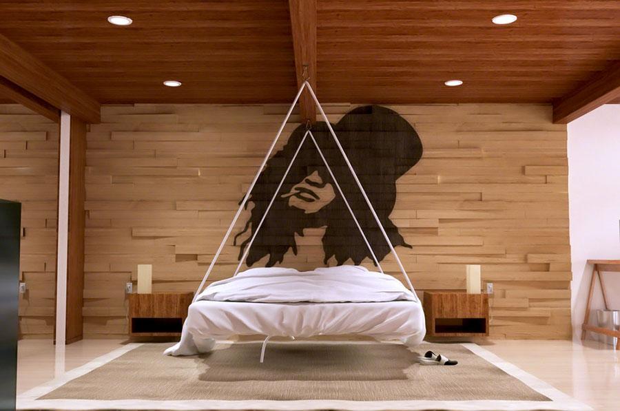 Rivestimento in legno per pareti della camera da letto n.07