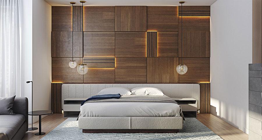 Pareti in legno per la camera da letto 30 idee dal design - Camera da letto stile industriale ...