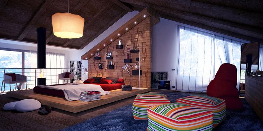 Rivestimento in legno per pareti della camera da letto n.10