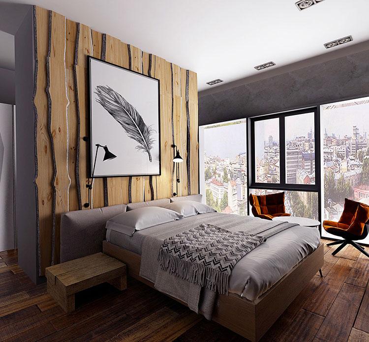 Rivestimento in legno per pareti della camera da letto n.11
