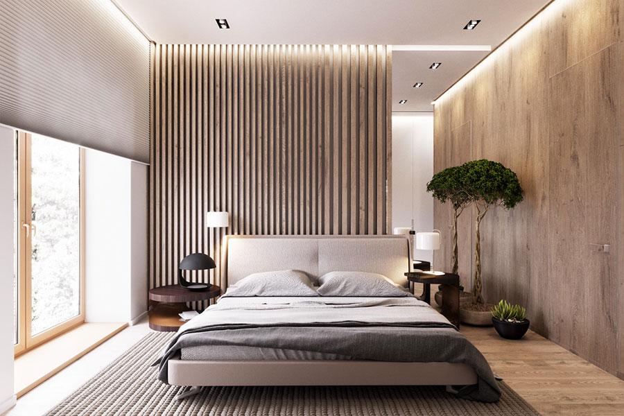 Rivestimento in legno per pareti della camera da letto n.12
