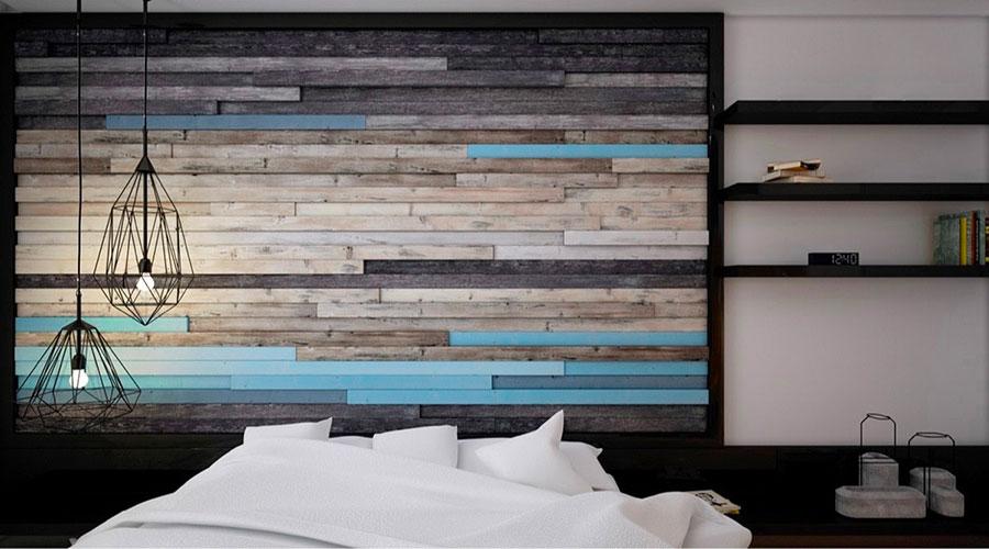 Rivestimento in legno per pareti della camera da letto n.13