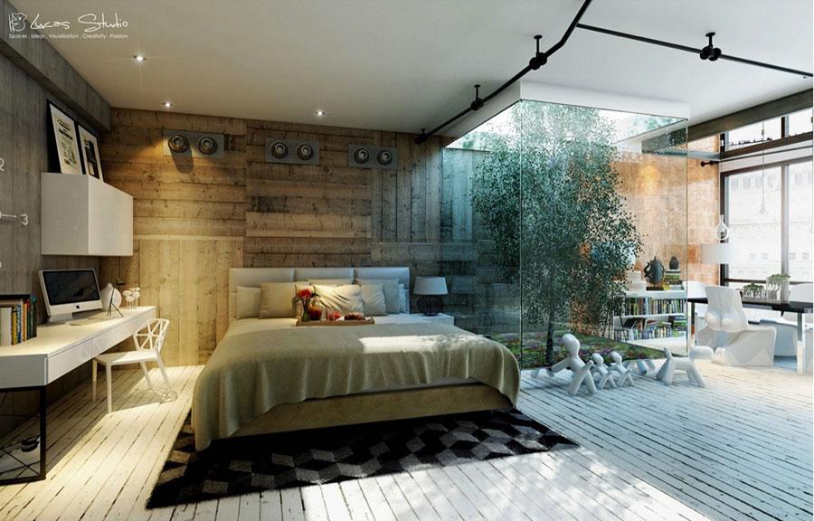 Rivestimento in legno per pareti della camera da letto n.14
