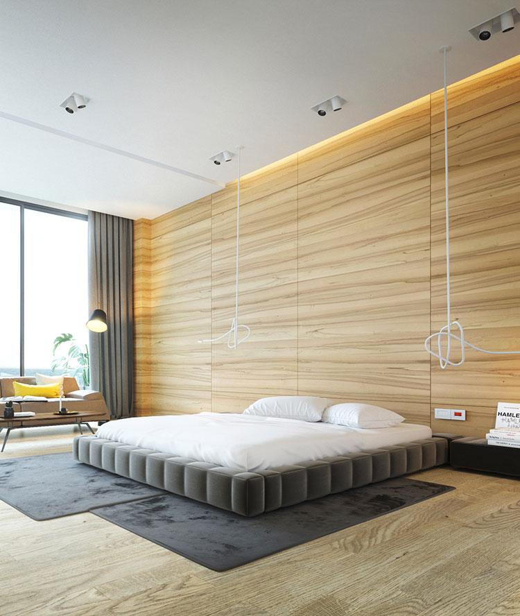 Rivestimento in legno per pareti della camera da letto n.17