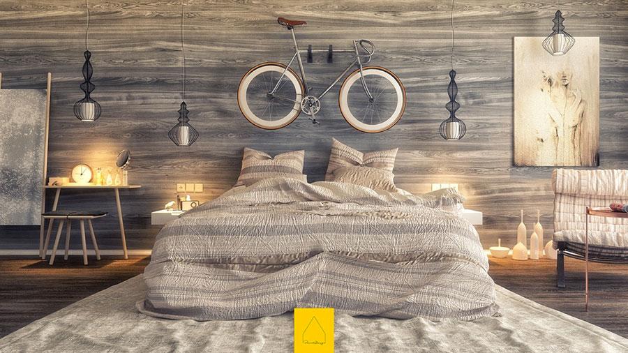 Rivestimento in legno per pareti della camera da letto n.18