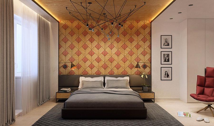 Rivestimento in legno per pareti della camera da letto n.29