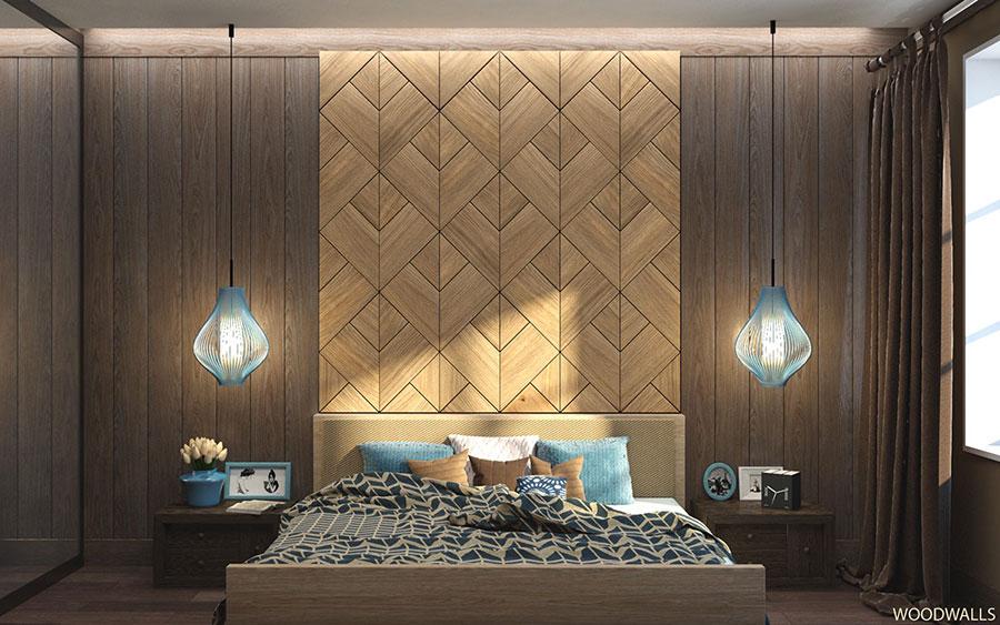 Rivestimento in legno per pareti della camera da letto n.30