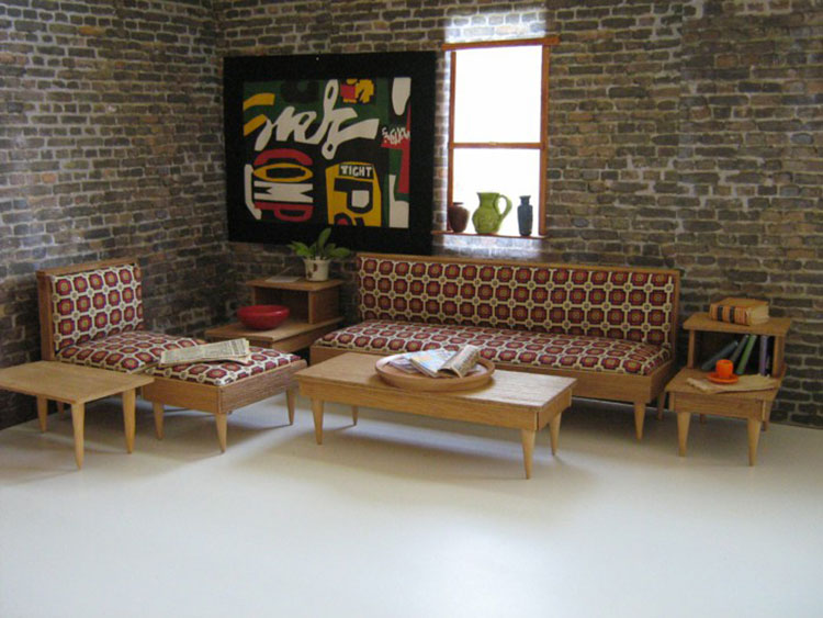 Arredamento per salotto vintage in stile anni '50