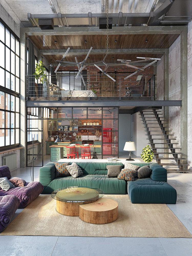 Arredamento stile industriale per loft dal design unico n.01