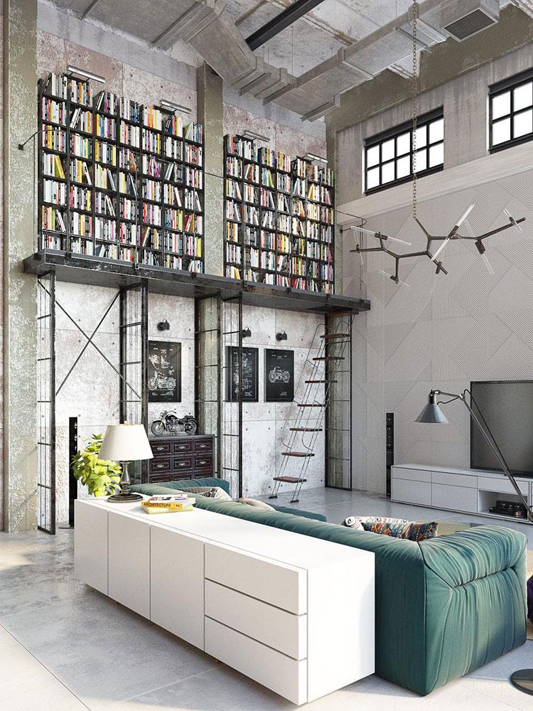 Arredamento stile industriale per loft dal design unico n.02