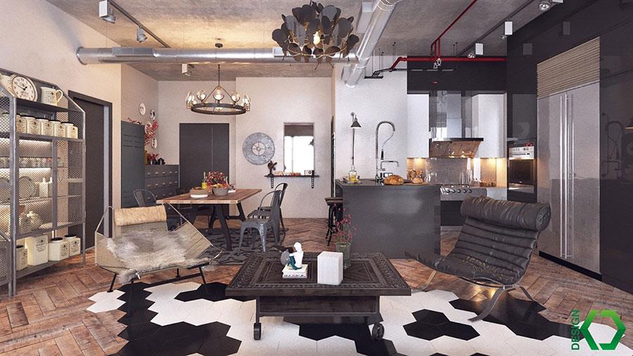 Arredamento stile industriale per loft dal design unico n.05