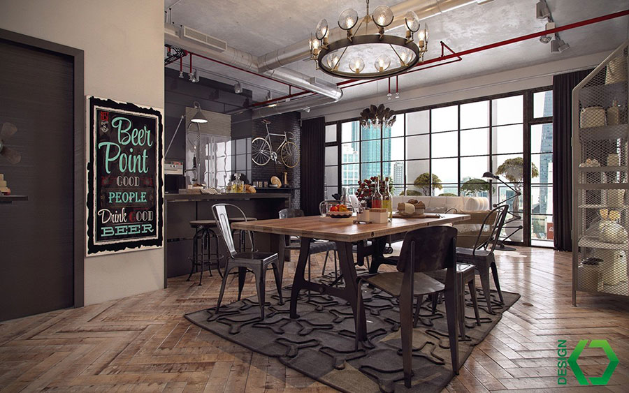 Come arredare una sala da pranzo in stile industriale for Look industriale per case