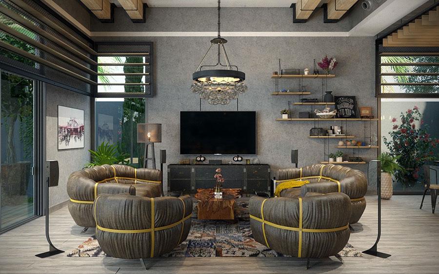 Arredamento stile industriale per loft dal design unico n.07