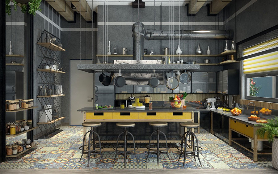 Arredamento stile industriale per loft dal design unico n.09
