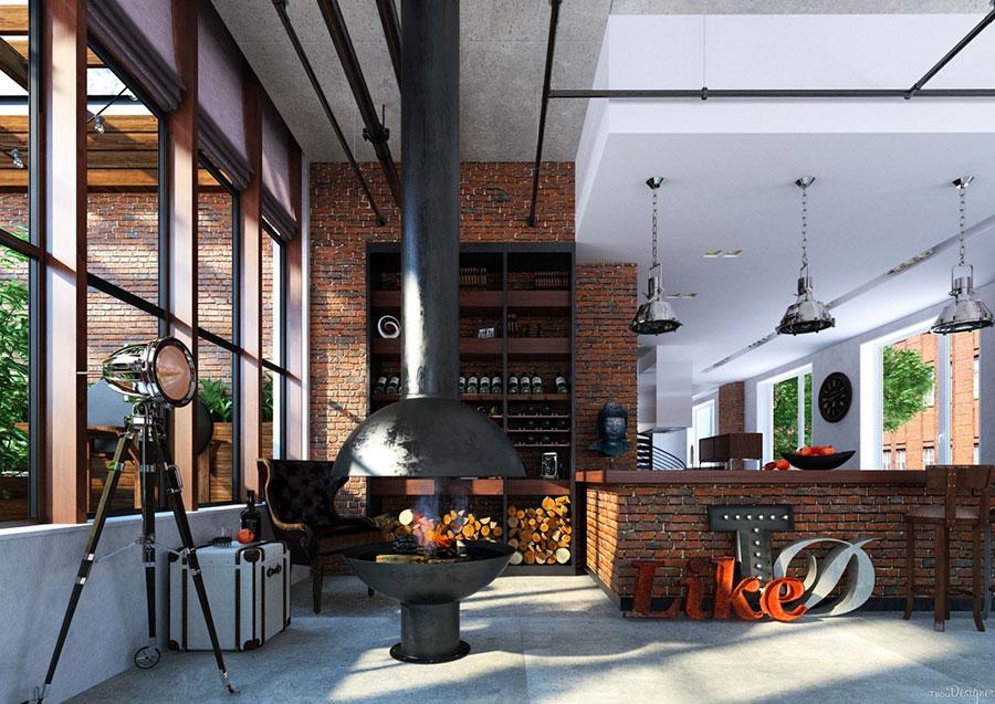 Arredamento stile industriale per loft dal design unico n.11