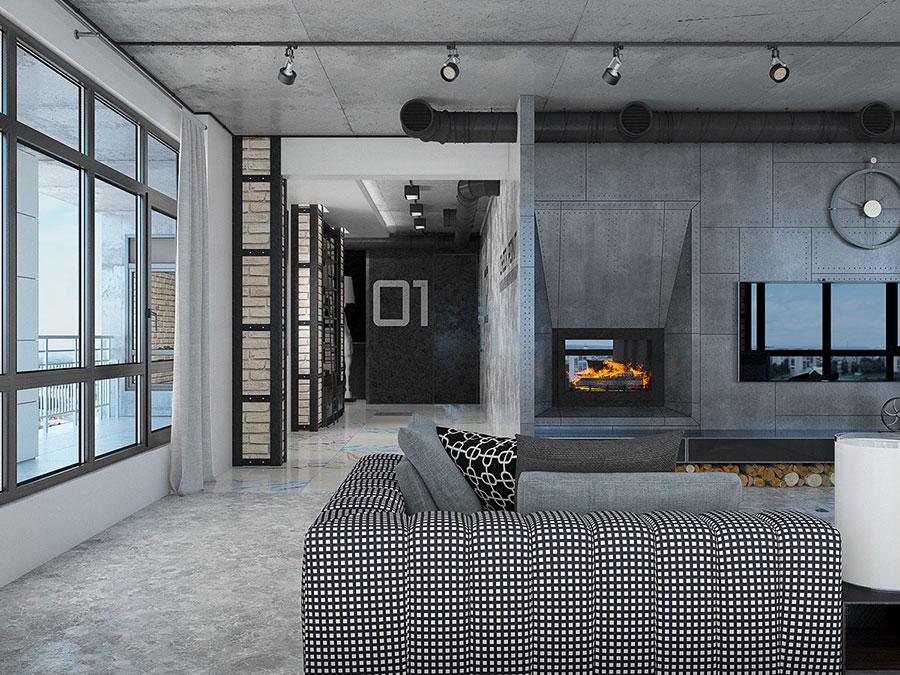 Arredamento stile industriale per loft dal design unico n.12