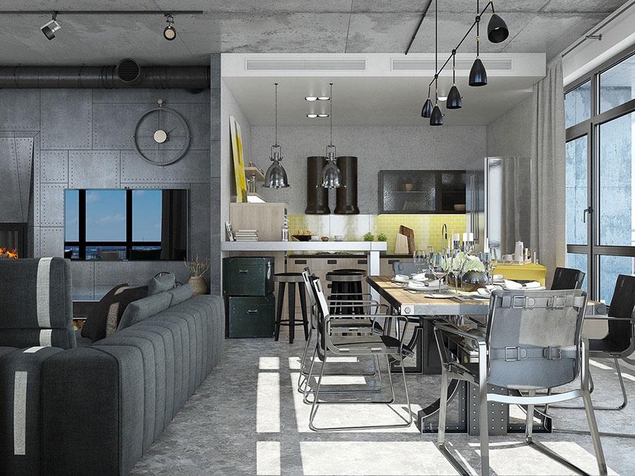 Arredamento stile industriale per loft dal design unico n.14