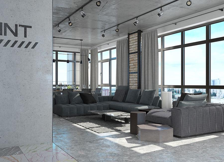 Idee per arredare il soggiorno in stile industriale n.21