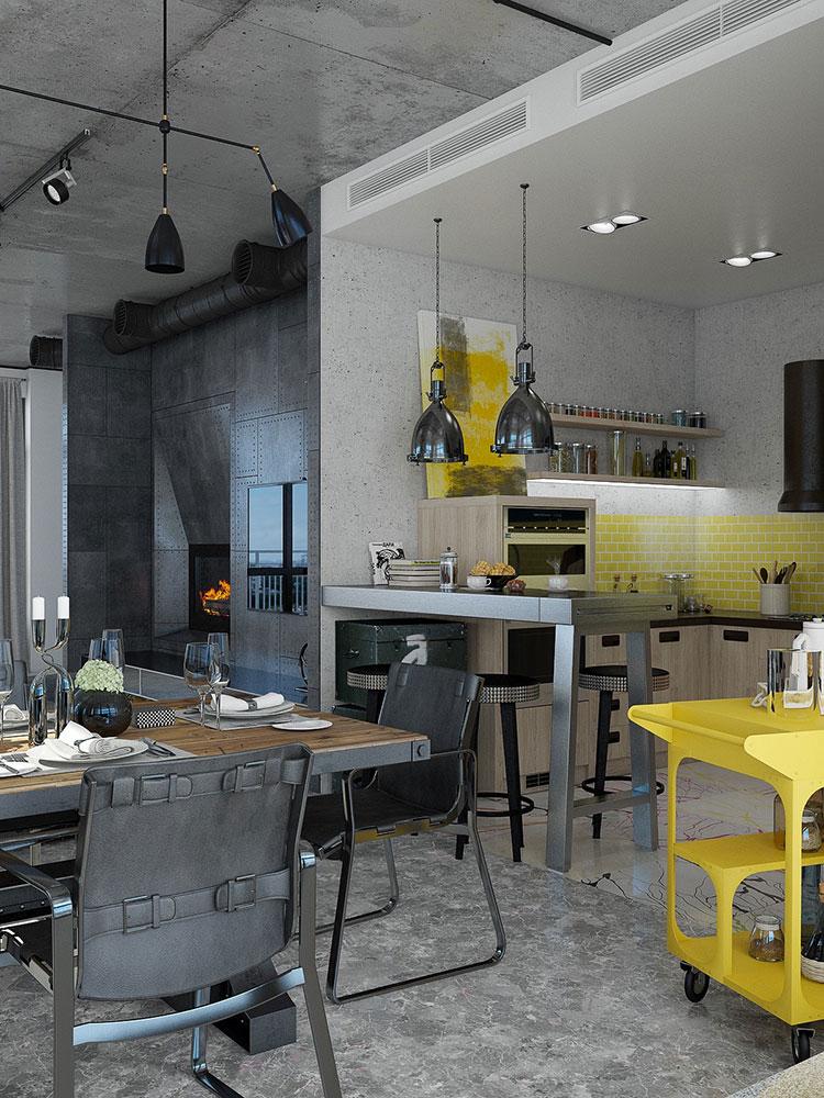 Arredamento stile industriale per loft dal design unico n.16