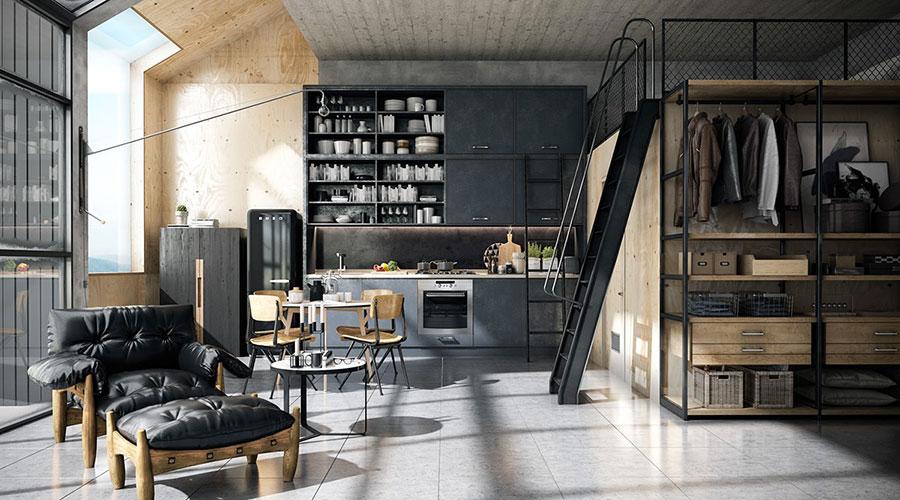 Arredamento stile industriale per loft dal design unico n.17