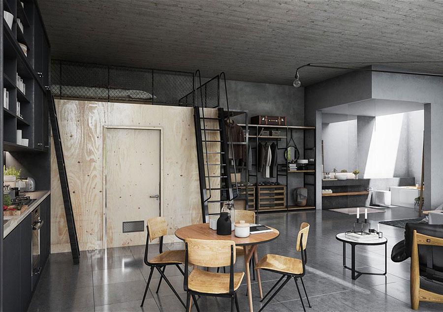 Arredamento stile industriale per loft dal design unico n.20