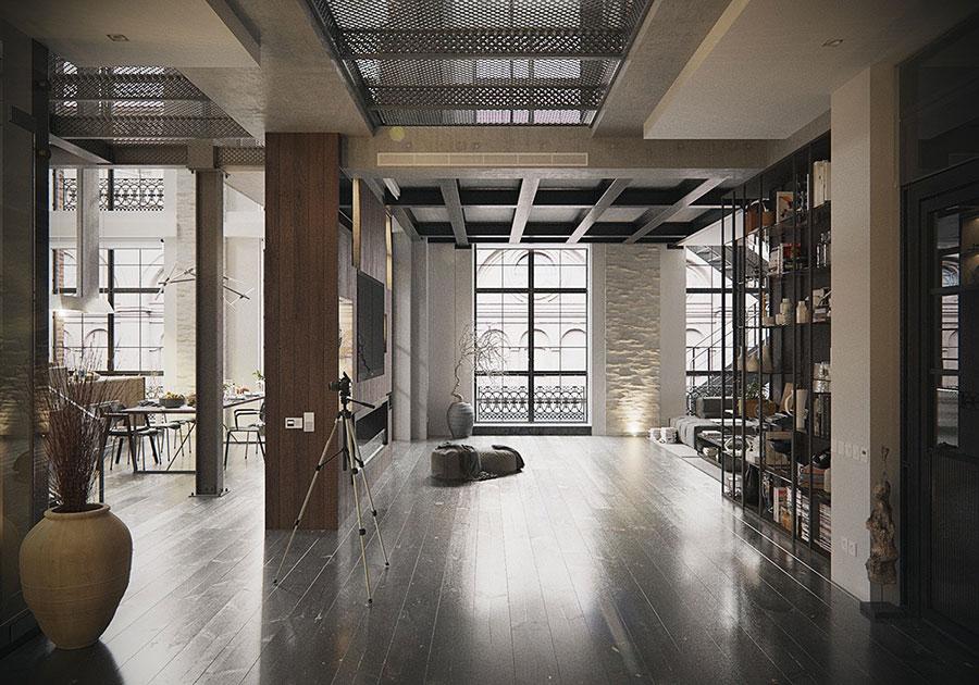 Arredamento stile industriale per loft dal design unico n.21