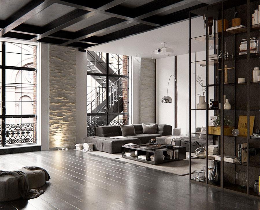 Arredamento stile industriale per loft dal design unico n.22